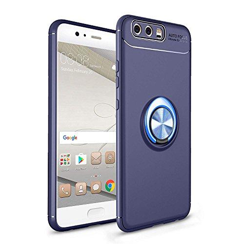 Shinyzone für Huawei P10 Hülle,Blau mit 360 Grad drehbarer Ring Ständer,Ultra Dünn Weich TPU Stoßfest Schutzhülle Kompatibel mit Magnetischer Autohalterung