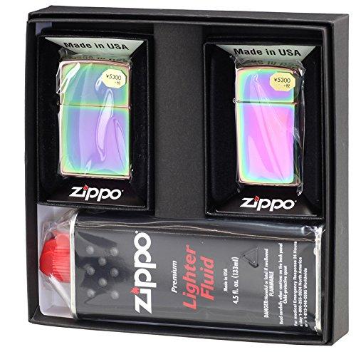 【ZIPPO】 ジッポーライター オイル ライター ペア スペクトラム(虹色) ジッポ レギュラー&スリム 2個セット ペアセット専用パッケージ入り(オイル缶付き)
