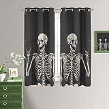 Happy Skull - Cortinas opacas para sala de estar, diseño de calavera, para Halloween, aislamiento térmico, ahorro de energía, para sala de estar y cocina (72 x 84 pulgadas)