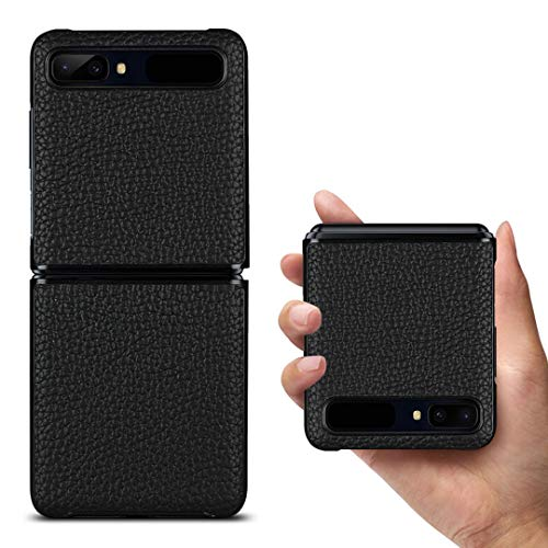 Copmob Samsung Galaxy Z Flip Hülle,Premium Echtes Leder Anti-Scratch Ledertasche Schutzhülle Handyhülle für Samsung Galaxy Z Flip 6.7 Zoll - Schwarz