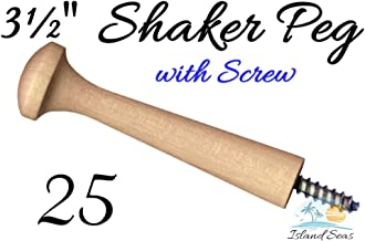 "25-3½"" Wood Peg with Screw - Birch Shaker Style Wooden Screw-in Shaker Pegs Screw- on Hanger-Bolt Hat Rack"