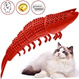 RUCACIO Cat Toys Interactive Kitten Catnip Toys Cat Treat Toy Cat Stuff Toothbrush Teeth Cleaning Chew Toy Lobster Shape Great Christmas Gifts100% Natural Rubber Bite Resistance (Red)