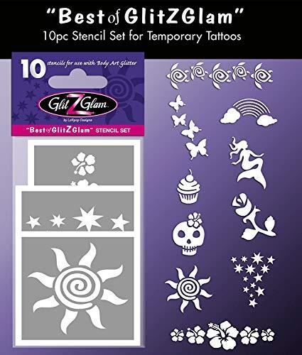 GlitZGlam Kit de Plantillas para Tatuajes temporales: Lo Mejor Tatuajes para niños, Adolescentes y Adultos