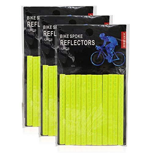 JCstarrie Bike Speichenreflektor Fahrrad MTB Fahrrad Rad Speichenreflektoren Clip Tube für Kinder Adult Bike Easy Mount 36PCS(GELB)