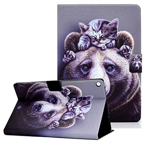 Fire HD 8' 8th/7th/6th Gen 2018/2017/2016 Case with Card Holder, Coopts Slim PU Leather Folio Stand Smart Case for Amazon Kindle Fire HD 8 2018 2017 2016 Release(NOT FIT for Fire HD 8 2020), Bear