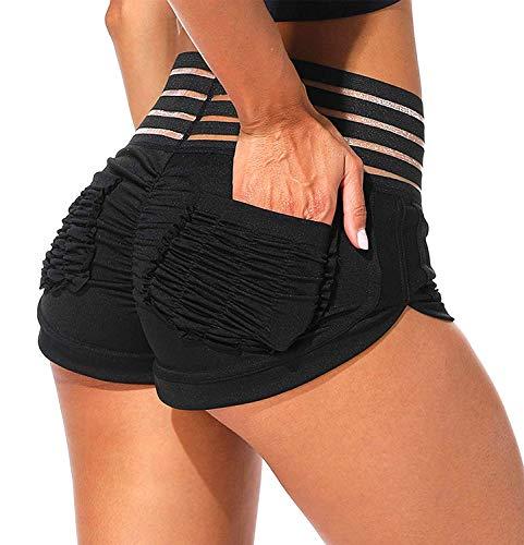 FITTOO Pantalones Cortos Leggings Mujer Mallas de Yoga Alta Cintura Elásticos y Transpirables #4 Negro S