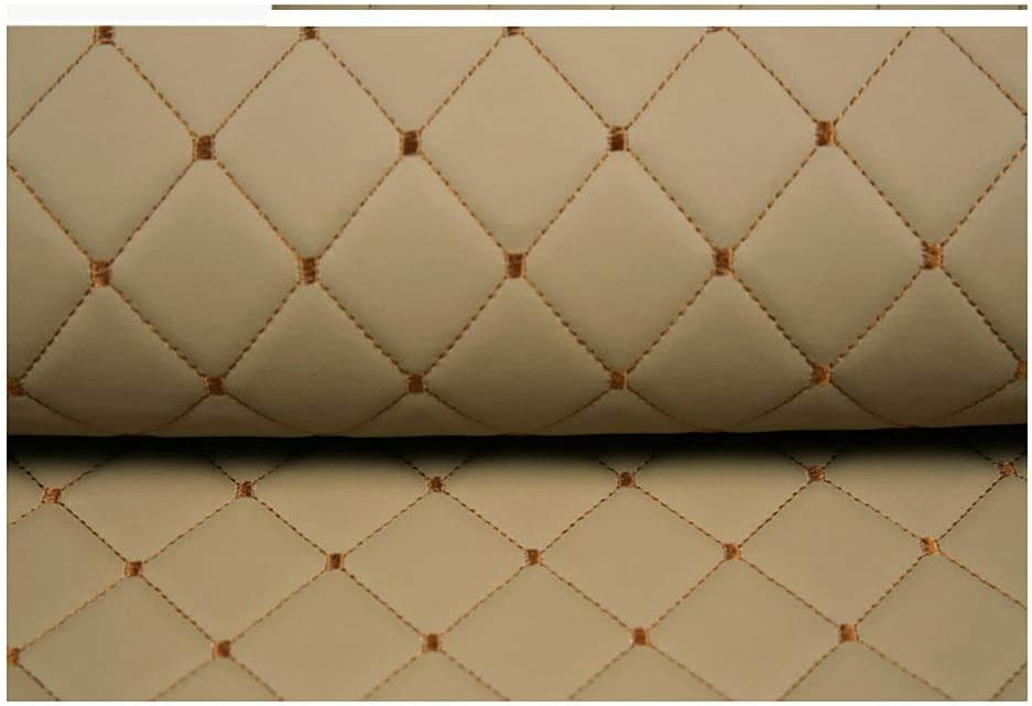 Max 72% Low price OFF Beige Leather Diamond Stitch Padded Faux Wadding L Cushion Linen