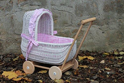 Burkhardt Korbwaren Puppenwagen aus Weide Weiß lackiert mit geflochtenem Verdeck und Holzgriff...Stoff Rosa kariert...extra Stabil...
