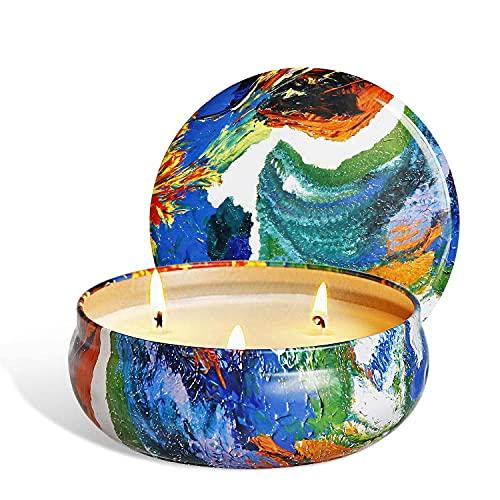 Vela perfumada de algodón de 3 núcleos, gran vela de cera de soja natural, ideas de regalo para mujeres, novias, velas para el hogar natural