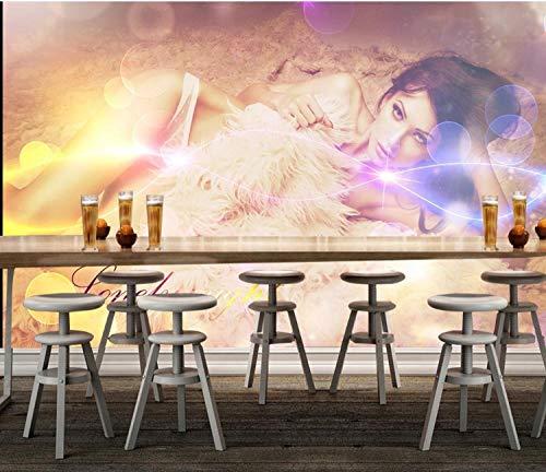 Fototapete 3D Effekt Wand Dekoration Vlies Tapete Moderne Dekoration Wanddeko Wandbilder 350X245Cm Hintergrundwand Des Sexy Schönheitshotel-Nachtclubs
