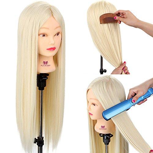 Übungskopf Blonde Neverland Beauty 26 Zoll 100% Kunsthaar-Friseurzubehör Schaufensterpuppenkopf mit Klemme für den College- und professionellen Einsatz