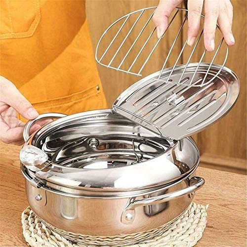 MiaoKa Tempura Deep Fryer, Stainless Steel Frying Pot with Thermometer Lid, Non-Stick for Kitchen