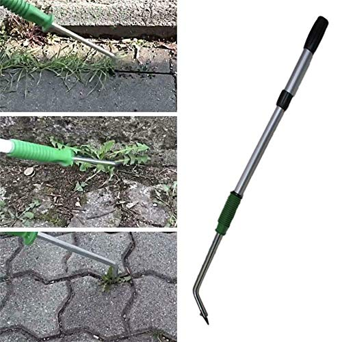 Telescopic Hand Weeder, Weed Remover Tool with Long Handle, Garden Weeding Shovel, Fixed Hand Scraper Knife for Removing Moss and Weeds in Paving Joints