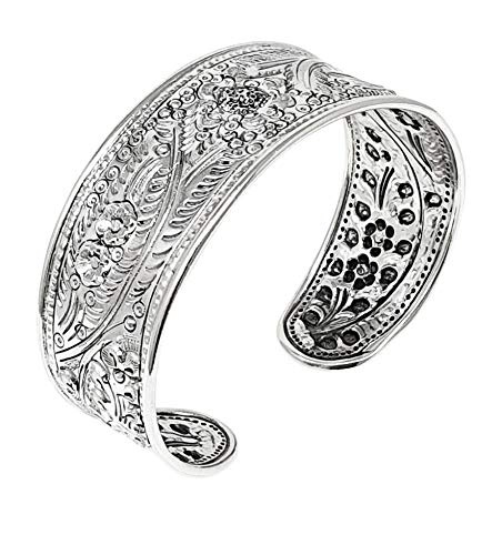 TreasureBay Beautiful 925 Sterling Silver Cuff Bracelet, Large Floral Bangle