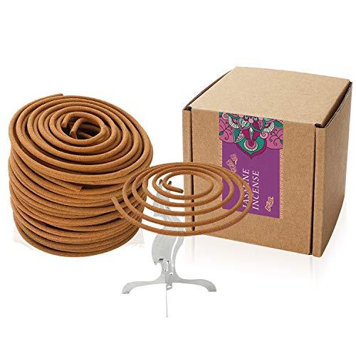 Coils Incense Floral Fragrance Jasmine Spiral Incense for Home Decoration Holder Incense Burner(Jasmine Incense)