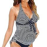 Bikini Maternidad Tankini 2 Piezas Elegante Verano Moda Casual Playa Rayas Ropa Premamá Tallas Grandes Ropa Modernas Embarazada Ropa Premamá Embarazo Bañadores Bañador Set