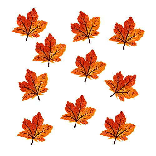 12 Pack Assorted Colorful Maple Leaves Patches Iron on Patches Embroidered Applique Motif (Orange)