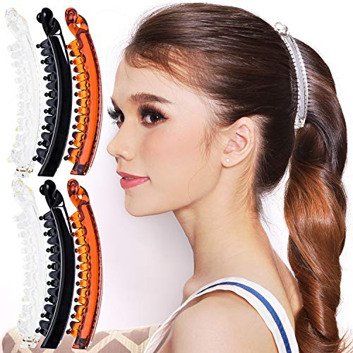 RC ROCHE ORNAMENT 6 Pcs Womens Super Secure Grip Claw Ponytail Maker Holder Banana Hair Clips Extra Teeth Jaw No Slip Clasp Clamp Girls Ladies Beauty Fashion Accessory, Medium Clear Brown and Black