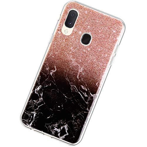 Coque Compatible avec Samsung Galaxy A20e,Étui Marbre Motif Ultra Mince Souple Transparent TPU Silicone Housse Flexible Crystal Case Antichoc Scratch Anti-Rayures Téléphone Protection Bumper,Rose Noir