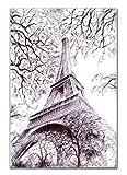 Eiffel Tower Paris Wall Decor - 8x10in UNFRAMED Art Print - Modern Wall Art Unique Black & White Sketch for Home & Office