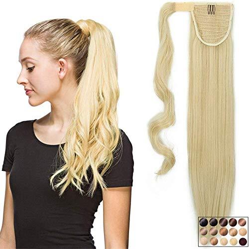 Rajout Queue de Cheval Postiche Extension de Cheveux Synthetique Lisse - Wrap Around Ponytail - Blond Très Clair (58cm-120g)