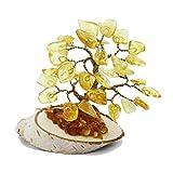 Bonito árbol de ámbar báltico de color limón (32 hojas de ámbar), hecho a mano y en caja, regalo perfecto y único.