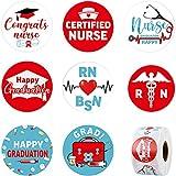 600 Piezas Pegatinas de Rollo de Graduación de Enfermera, Etiquetas Adhesivas Redondas de Favores de Fiesta Temáticos de RN BSN Fiesta de Graduación de Escuela de Enfermería