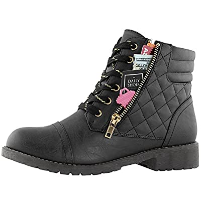 DailyShoes Women's Ankle Boots Combat Boot Low Heel Lace Up Zippers Pocket Indoor Cute Soft Cozy Booties Non Slip Shoes Exclusive Credit Card Bootie Susan-02 Black Pu 6.5