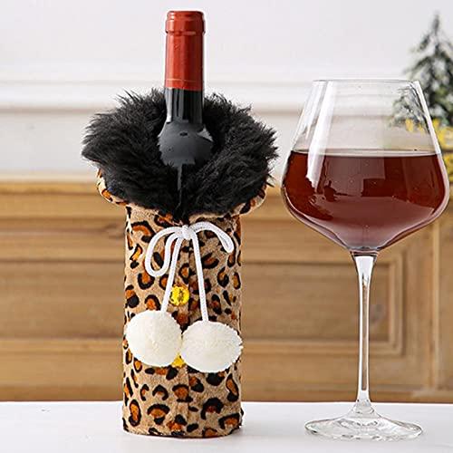 ZSDFW Funda de botella con estampado de leopardo con pompón de champán, decoración de botella de vino, bolsa de botella para Navidad, boda, viajes, cumpleaños, fiesta de vacaciones, color caqui