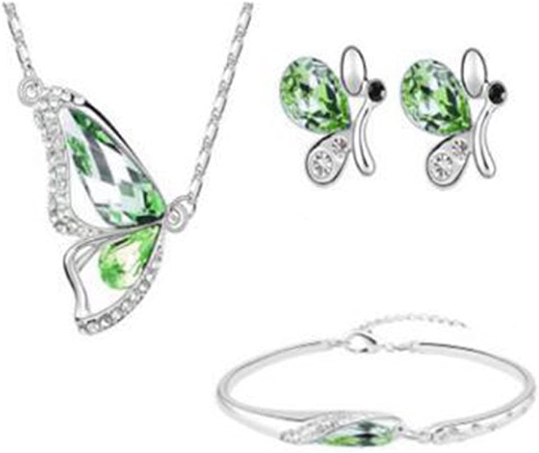 Jewelry Sets for Women,Butterfly Rhinestone Pendant Necklace Stud Earrings Bracelet Bridal Jewelry Set