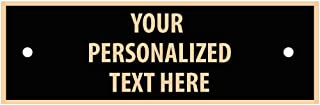 """Black Metal Engraved Plate with Gold Trim, 1"""" x 3.25"""", Custom Engraved Plate, Engraving Included Prime"""