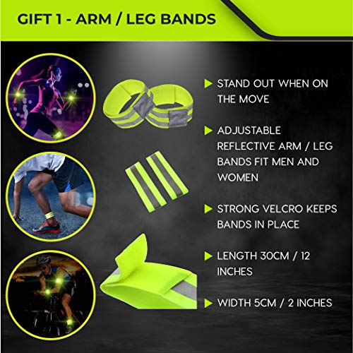 ACTIVATE High Visibility Vest for Running, Cycling, Bike, Walking + FREE Arm/Leg Bands & Carry Bag - For Men & Women – Inner Zip Pocket – Fully Adjustable – High Vis - Be Seen & Stay Safe!