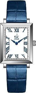 SK Exquis Rectangle Montre Femme Femme Montre Carré avec Bracelet en Maille d'acier Inoxydable en Cuir véritable Montres B...