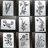 BLUGUL 9pcs A4 Plantillas de Dibujo, para Manualidades Decoración Pared Mueble Ventana Aerógrafo, Gesang Orquídea Ciruela Melocotón Bambú Flores de Glicina Crisantemo
