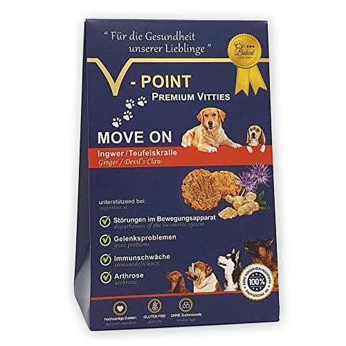 V-POINT Premium Vitties für Hunde unterstützt bei Arthrose Gelenksprobleme Störungen im Bewegungsapparat - glutenfreie Hundeleckerlie ohne Zuckerzusatz (Move ON - Teufelskralle/Ingwer, 250g)