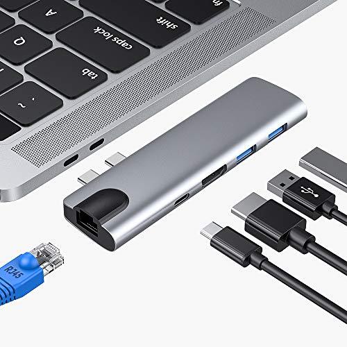 SUNKY Hub USB C, Adaptador de Hub Tipo C RJ45 HDMI para Macbook Air 2018 Macbook Pro 2018 2017 2016 con Salida HDMI 4K, Ethernet RJ45 1000M, 2 Puertos USB 3.0 y Puerto de Carga/Datos Tipo PD C (Grey)