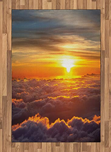 ABAKUHAUS Naturaleza Alfombra de Área, Escena de Puesta de Sol en Las Nubes, Ideal para Sala de Estar o Comedor Resistente a Manchas, 120 x 180 cm, Naranja