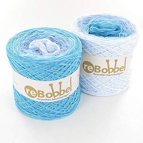 ReBobbel 50/50 Farbverlaufsgarn aus recycelter Baumwolle 4fach 1000m - Gletscher