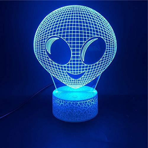 Lmpara de mesa 3D creativa cabeza aliengena base agrietada luz de noche LED decoracin regalo
