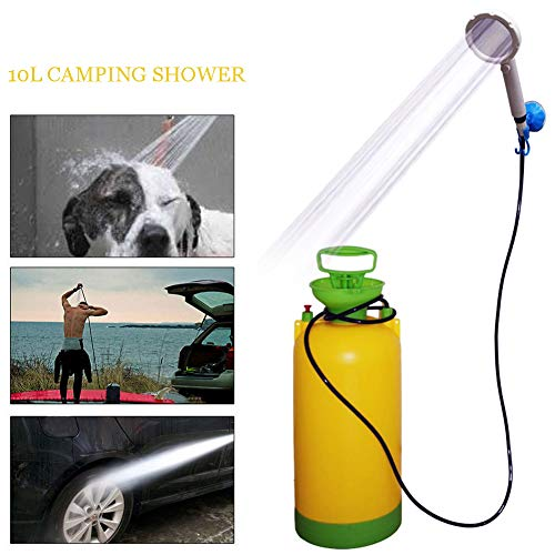 IYMSS Campingdusche, 8L / 10L / 14L Außendusche Camping Dusch Camping Dusche Tasche, Mit Duschkopf Gartendusche Pooldusche Warmwasser Shower, Outdoor Camping Wandern,10l