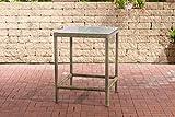 CLP Polyrattan Tisch Alia 5mm I Gartentisch Rundrattan I Bartisch Mit Glasplatte I Gartenmöbel, Farbe:Natura