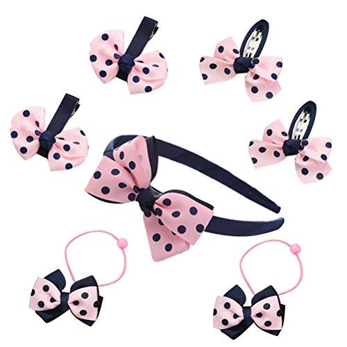 frcolor 7pcs Kit Fille bowknot bandeau bandeau cheveux Barrettes Cheveux Mode Rose Bleu marine Polka Dot