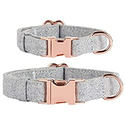 Thoroughbeds Grey Tweed Dog Collar With Rose Gold Buckle - Available in a choice of sizes - Extra small, small, medium or large Soft, light grey fabric provides a comfortable fit Double layered fabric for maximum strength and durability Quick release...