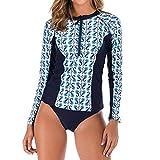 RISTHY Mujeres Traje de Manga Larga Rashguard UV Protección Estampado Camiseta Bañador para Buceo Natación Surf 2 Piezas Conjuntos Trajes de Baño para Natación