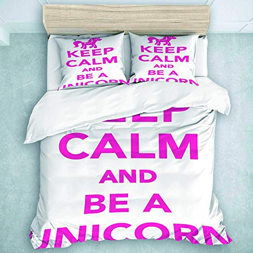 Juego de Funda nórdica, Keep Calm and Be A Unicorn, para Adolescentes, Adultos, colección de Ropa de Cama Queen, 3 Piezas