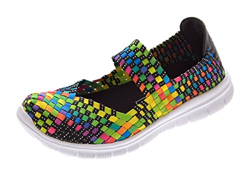 Damen Ballerinas geflochten Slipper flach Sneaker elastisch Halb Schuhe Bunt Multi-Color Sandalen Gr. 36