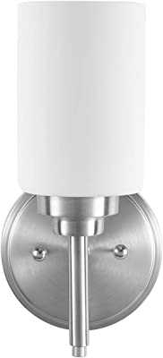 Bathroom Sconces Wall Mount Light Lamp with Clear Glass Shade Vanity Hallway Bedroom Modern Industrial Fixtures Wall Lights 1-Light Nickel No Bulbs