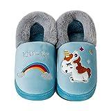 Zapatillas de Estar por Casa para Niños Niñas Invierno Zapatillas Interior Casa Caliente Pantuflas Lindas Zapatillas De Animales(CH Unicornio Azul, 26/27EU)