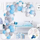 Kit Arco y Guirnalda de Globos   Globos Color Azul, Blanco, Gris y Plateado   Ata Globos, Cinta para Globos y Gotitas Adhesivas   para Cumpleaños, Baby Showers o Bautizos para Hombres y Niños