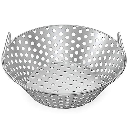 Skyflame 14 Inch Stainless Steel Charcoal Basket Accessories for Kamado Joe Classic | Large Big Green Egg | Pit Boss | Louisiana Grills & Other Grills - New Version of Hollow Holes Design